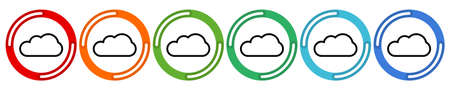 Clouds collection. Vector 6 colors option icon. Vector illustration flat design UI and UX