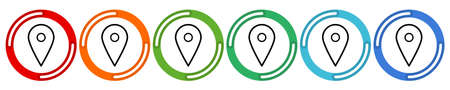 Geo Tag Position Location. Vector 6 colors option icon. Vector illustration flat design UI and UX