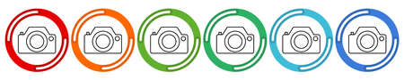 Camera collection. Vector 6 colors option icon. Vector illustration flat design UI and UX Ilustrace