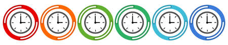 Clocks and time collection. Vector 6 colors option icon. Vector illustration flat design UI and UX