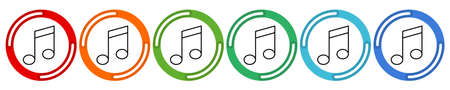 Musical Design Elements collection. Vector 6 colors option icon. Vector illustration flat design UI and UX