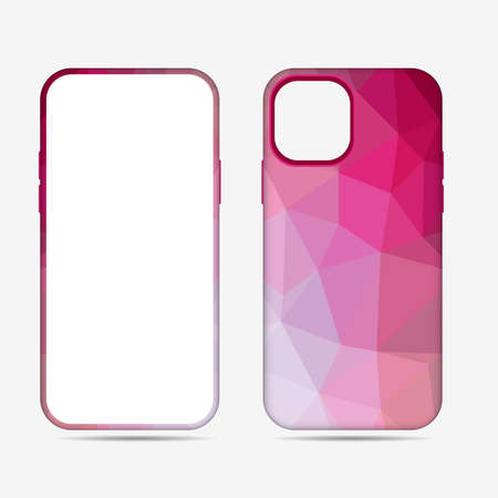Phone case collection.Vector abstract colorful geometry background, multicolored print, low poly design texture.