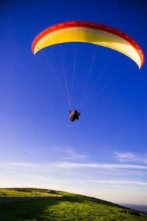 parapente: Paraglider in the air Stock Photo