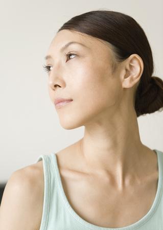 A woman turning sideways