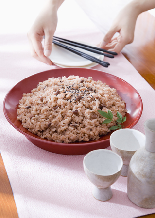 Festive red rice and Japanese sake
