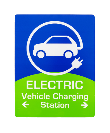 North American road sign with EV charging station on white background. Electric vehicle