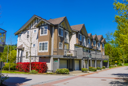 Street of new townhouses in Burnaby, Canada
