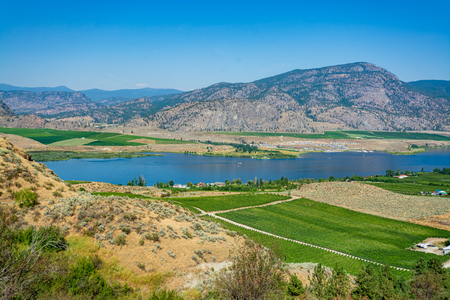 Okanagan valley panoramic view with orchard farm fields. Residential houses in Okanagan valley built on Osoyoos lake shore with mountains on the background