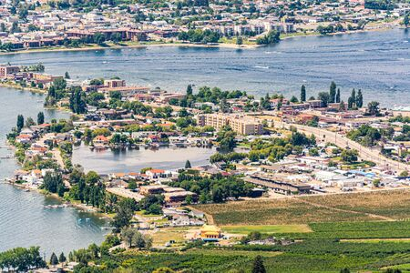 Resort area and residential houses in Osoyoos town, British Columbia.
