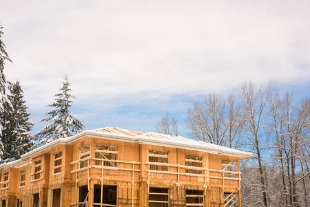 Townhome complex under construction on winter time