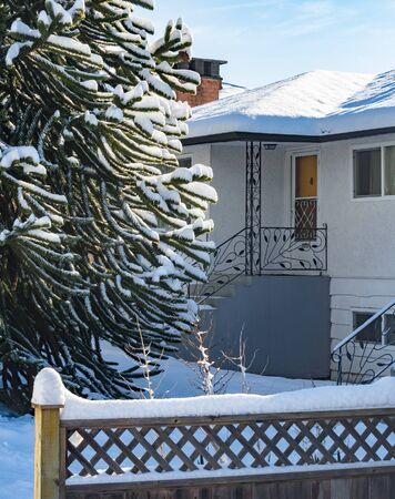 Entrance of residential house with monkey tree in front. Family house in snow on winter season 写真素材
