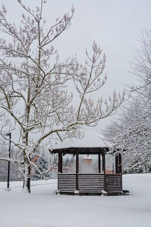 Wooden summer shelter under snow on winter season in Canada Stockfoto