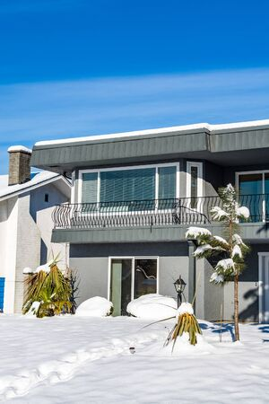 Residential house entrance on bright winter day in British Columbia, Canada