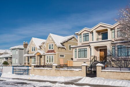 Brand new luxury houses on sunny winter day in British Columbia Stockfoto