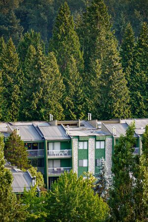 Top of low-rise residential building on green trees background