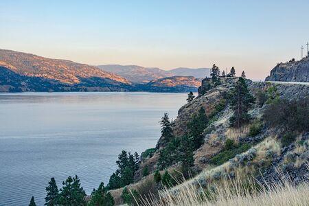 Scenery overview of Okanagan lake on summer sunset