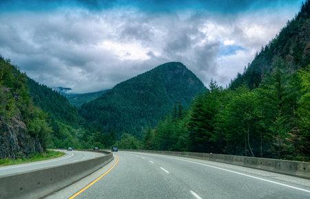 Turn of mountain road in British Columbia.