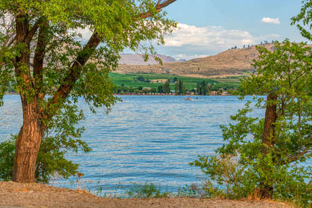 Beautiful view of Osoyoos lake from tourist camp on warm summer evening