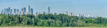 Panoramic view of Metrotown on bright summer day