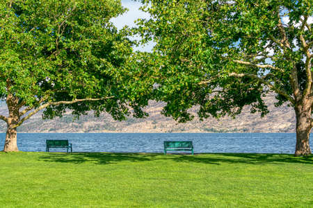 Recreation area along a waterfront pathway on Okanagan lake