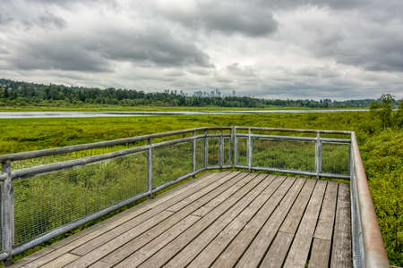 Recreational deck with observation over the park of Burnaby lake