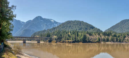 Fraser river panoramic view with the bridge in British Columbia
