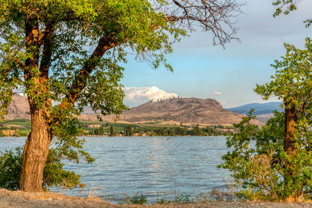 Beautiful view of golden sunset on Osoyoos lake