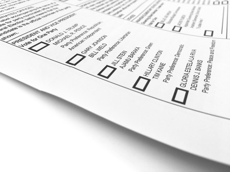 libertarian: ORANGE COUNTY, CA - OCTOBER  1, 2016 - General election ballot form with the listed U.S. presidential candidates.