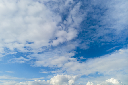 Cloudscape on a blue day with copy space. Stock Photo