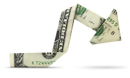 Geïsoleerde dollargrafiek - munt die in een beermarkt handel drijven. Stockfoto