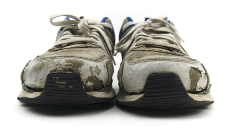 Old Sneaker Shoes Isolated On White Banco de Imagens - 91989749