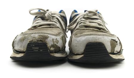 Oude Sneaker Schoenen Geïsoleerd Op Wit