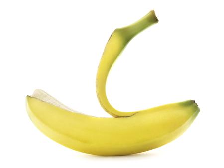 Isolated peeled banana on white.