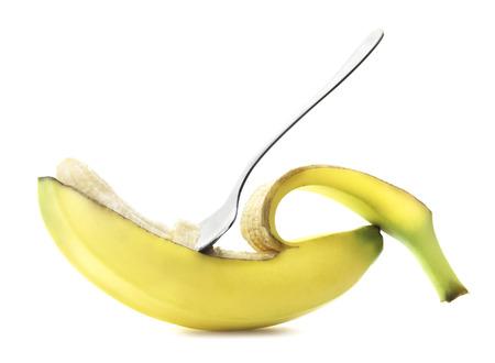 Isolated Peeled Banana With Spoon