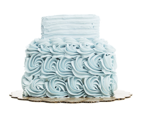 Isolated Blue Cake With Butter Cream Frosting
