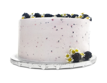 Isolated Blackberry Buttercream Cake With Flowers.