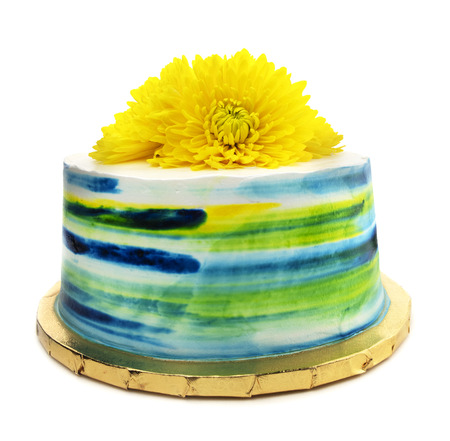 Isolated Colorful Swirl Floral Teal Cake Banco de Imagens
