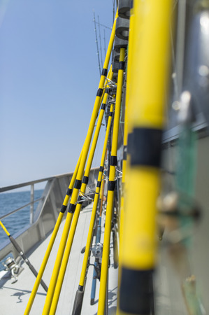 Low view row of fishing rods on a fisherman boat
