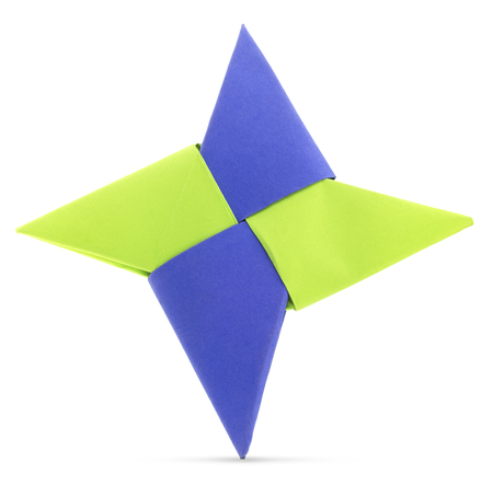 Origami star shape paper fold on a white background.
