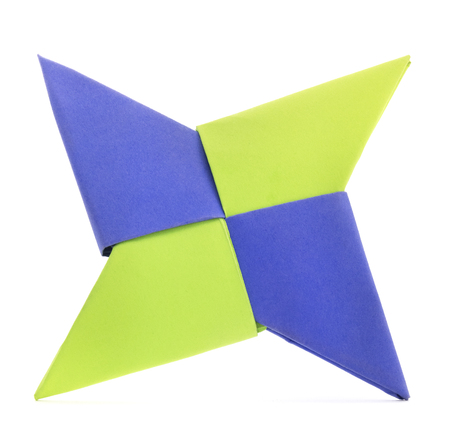 Isolated Origami blue and green paper star shape
