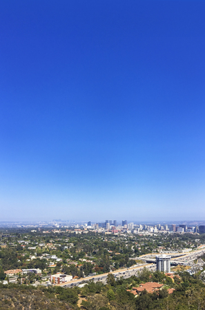West Los Angeles view of a freeway and downtown Westwood. Banco de Imagens