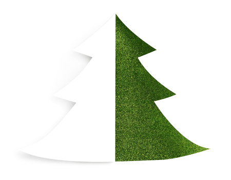 Isolated Green Sparkly Holiday Christmas Tree Design