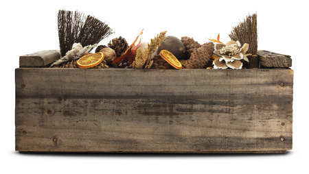 Autumn object arrangement in a old  wooden crate.