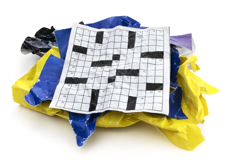 Isolated Crumpled Torn Crossword Puzzle Paper Cut Out