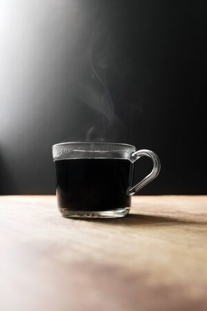 Hot Steamy Glass Coffee Cup With Copy Space Banco de Imagens