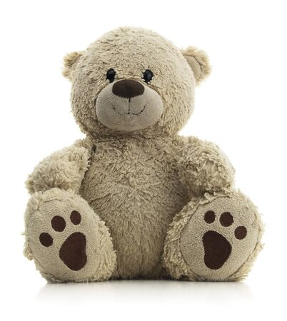 Isolated teddy bear sitting on a white background. Banco de Imagens