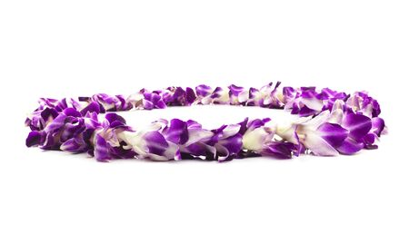 Isolated Purple Lei Flower Garland Isolated On White. Foto de archivo - 136964942