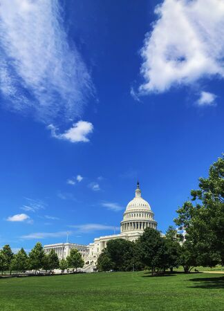 United States Capitol building with grass and blue sky. Foto de archivo - 136851708