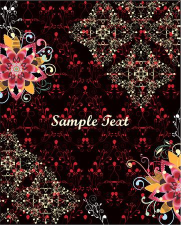 damask floral invitation card