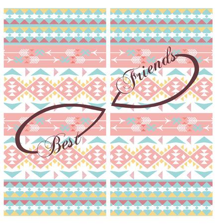 best friends design on aztec background